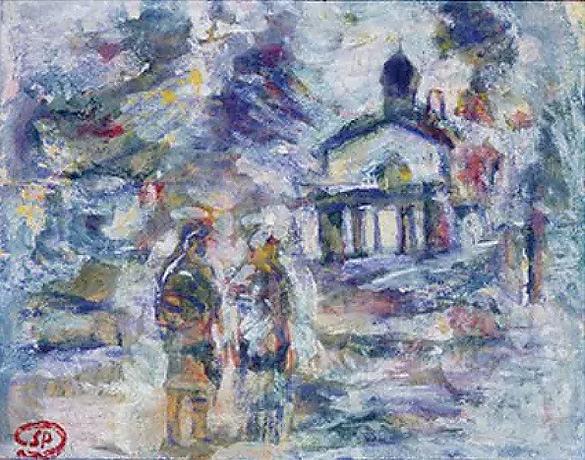 Paysage avec église Russe, 1940, gouache sur papier