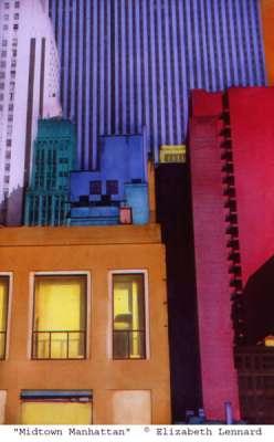 Midtown Manhattan (Tirage argentique rehaussé couleur) - Elizabeth LENNARD