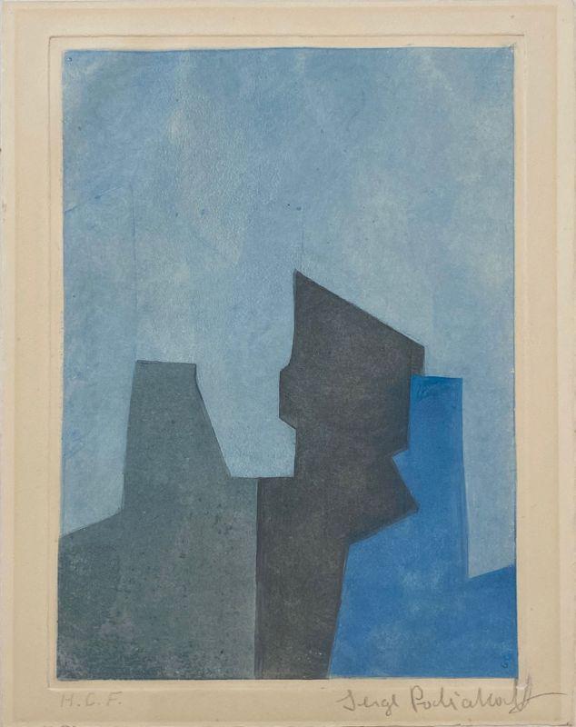 Composition Bleue (Eau-forte et aquatinte) - Serge  POLIAKOFF