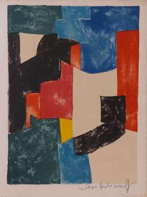 Composition noire, bleue et rouge n°37 (Lithographie) - Serge  POLIAKOFF