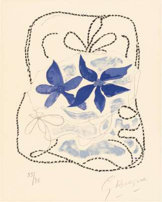Les deux iris bleus (Lithographie) - Georges BRAQUE