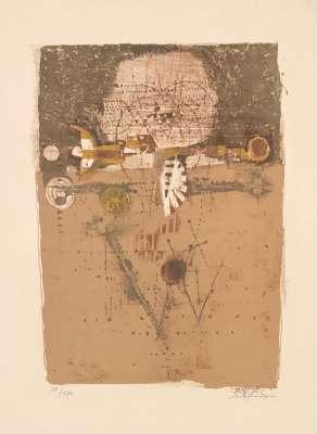 Oiseau sur fond brun (Lithographie) - Johnny FRIEDLAENDER