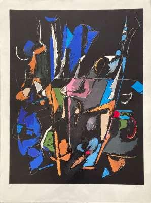Composition abstraite sur fond noir (Lithographie) - André LANSKOY