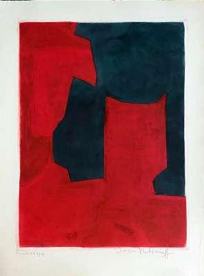 """Eau forte XI """"Composition rouge et verte"""" (Eau-forte) - Serge  POLIAKOFF"""
