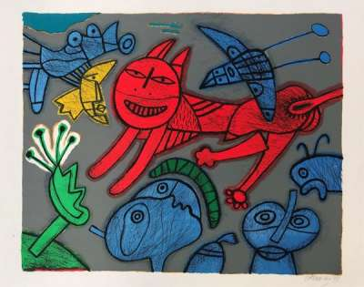 Red cat (Lithograph) - Guillaume CORNEILLE