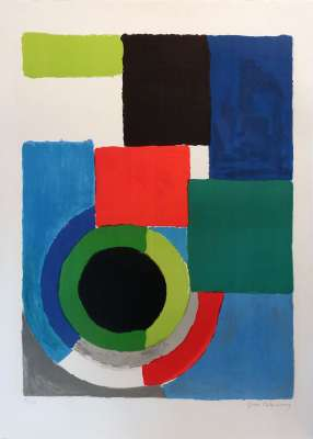 Grand Carré Rouge (Lithograph) - Sonia DELAUNAY-TERK