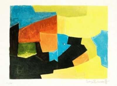 Composition noire, jaune, bleue et rouge XXX (Eau-forte et aquatinte) - Serge  POLIAKOFF