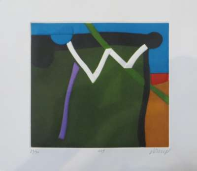 Zigzag blanc (Linogravure) - Bertrand DORNY