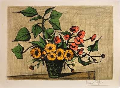 Bouquet of marigolds (Lithograph) - Bernard BUFFET