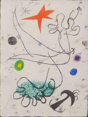 Lithographie sur papier d'Auvergne à la main à pétales de fleurs, brins d'herbe et pointes de fougères (Lithographie) - Joan  MIRO