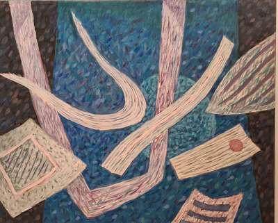 Composition en bleu (Öl auf Leinwand) - Henri GOETZ