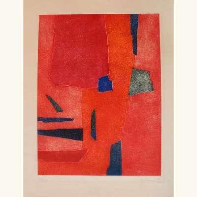 Interieur rouge (Eau-forte) - Gustave  SINGIER