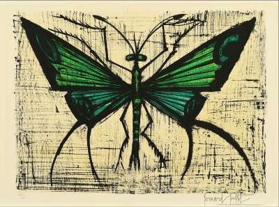 Le papillon vert (Lithographie) - Bernard BUFFET