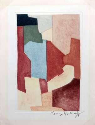 Composition Rouge et Verte (Eau-forte et aquatinte) - Serge  POLIAKOFF