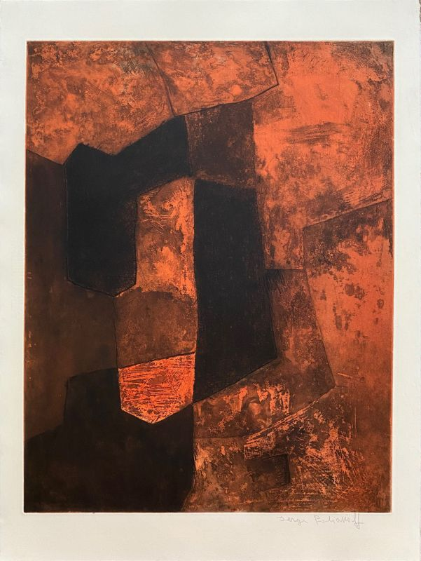 Composition Brune et Rouge (Gravure) - Serge  POLIAKOFF