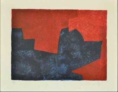 Composition lie-de-vin et bleue (Lithographie) - Serge  POLIAKOFF