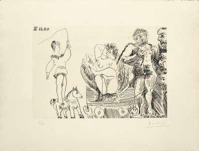 Ecuyère de cirque avec Vénus de foire dans sa coquille et deux hommes barbus (Eau-forte) - Pablo  PICASSO