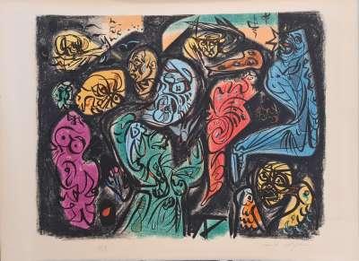 Astres et visages (Lithograph) - André  MASSON