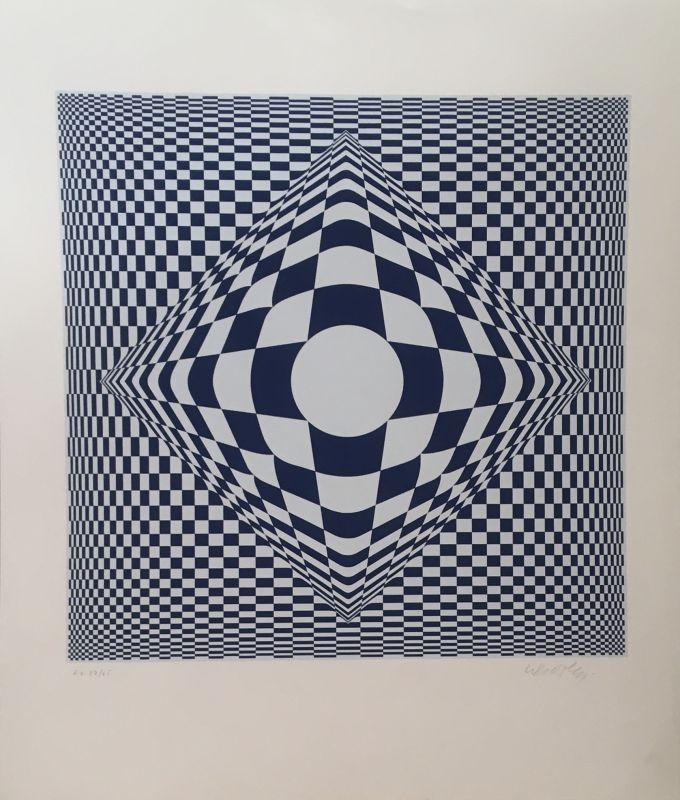 Sérigraphie bleue et grise (Sérigraphie) - Victor  VASARELY
