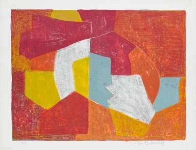 Composition carmin, brune, jaune et grise n° 11 (Lithographie) - Serge  POLIAKOFF