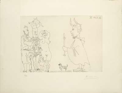 Le cocu devant un groupe avec le séducteur et l'amour (Eau-forte) - Pablo  PICASSO