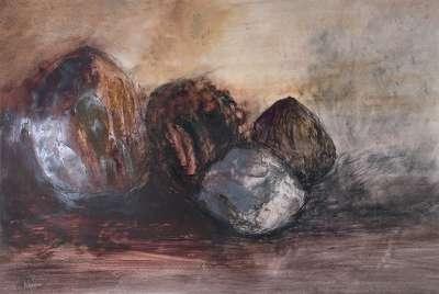 Noix de coco séchées (Huile sur papier) - Véronique NEROU