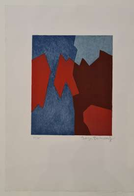 Composition in red and blue n°68 (Lithograph) - Serge  POLIAKOFF