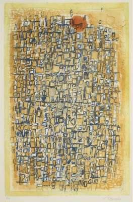 Composition sur fond jaune (Eau-forte et aquatinte) - Roger BISSIERE