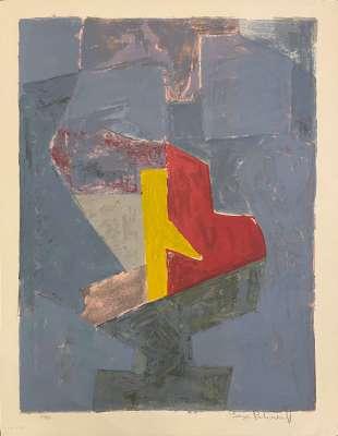 Composition Bleue, Jaune et Rouge L18 (Lithograph) - Serge  POLIAKOFF