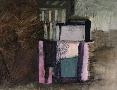 Palme et saris (Huile sur papier (contemporain)) - Véronique NEROU