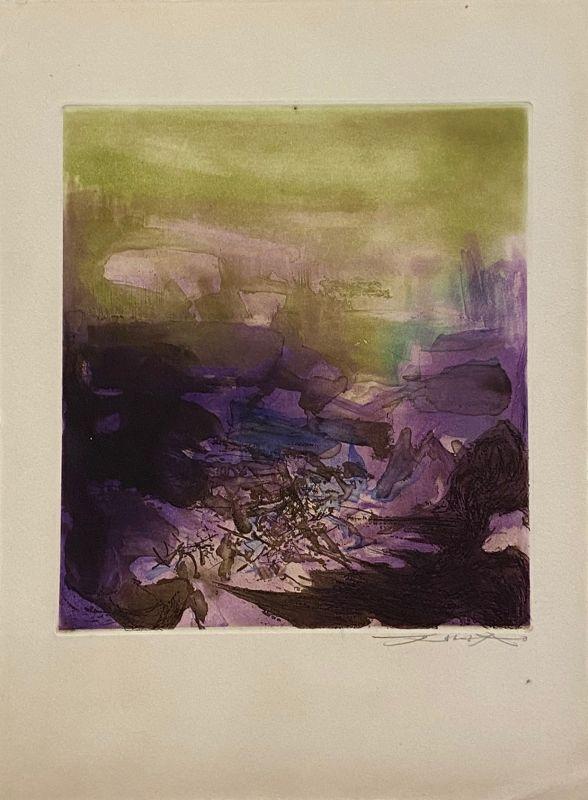 L'étang planche 3 (Eau-forte et aquatinte) - Wou-ki  ZAO