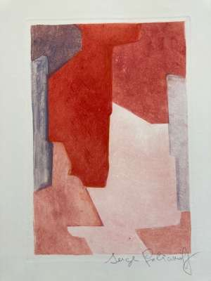 Composition in mauve, blue and red (Etching and aquatint) - Serge  POLIAKOFF