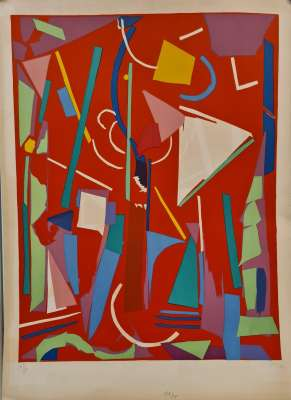 Composition on red background (Lithograph) - André LANSKOY
