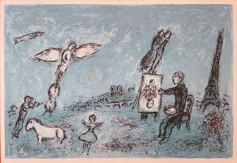 Le peintre et son double (Lithographie) - Marc CHAGALL