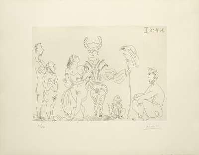 Le cocu et sa famille (Radierung) - Pablo  PICASSO