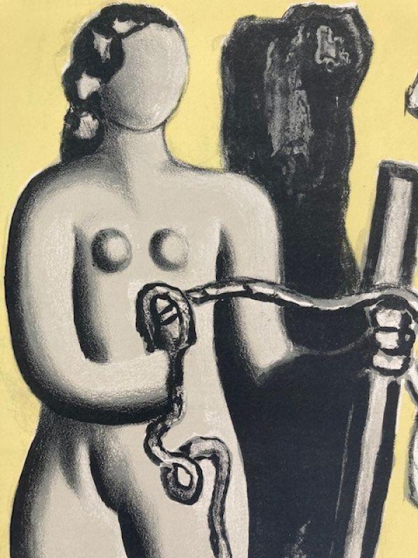 Femme sur fond jaune (Lithographie) - Fernand LEGER