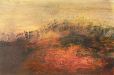 Paysage rouge (Huile sur papier) - Véronique NEROU