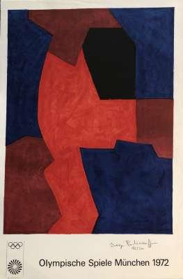 Composition bleue, rouge et noire L77 (Lithographie) - Serge  POLIAKOFF