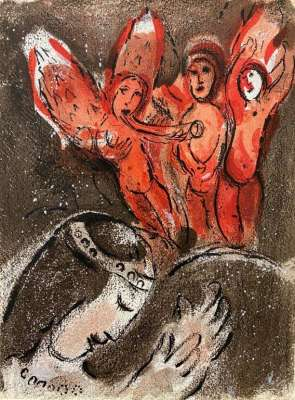 Sara et les Anges (Lithographie) - Marc CHAGALL