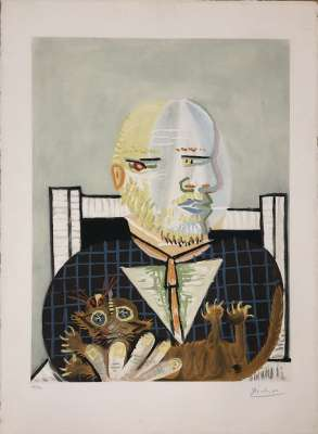 Vollard et son Chat (Eau-forte et aquatinte) - Pablo  PICASSO