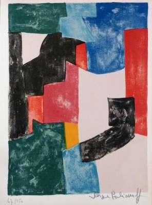 Composition noire, bleue et rouge L37 (Lithographie) - Serge  POLIAKOFF
