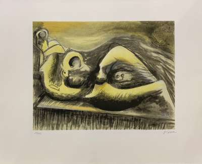 Reclining Figure Idea for Metal Sculpture (Lithographie) - Henry  MOORE