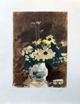 Vase of yellow flowers (Etching) - Georges BRAQUE