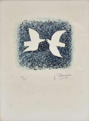 Couple d'oiseaux (Lithographie) - Georges BRAQUE