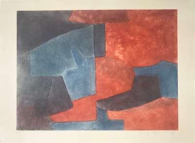 Composition grise, bleue et rouge XXVII (Aquatinte) - Serge  POLIAKOFF