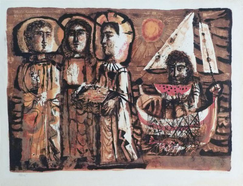 Les Saintes-Maries (Lithographie) - Antoni CLAVE
