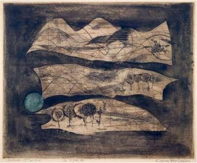Composition au Soleil Bleu (Radierung und Aquatinta) - Johnny FRIEDLAENDER