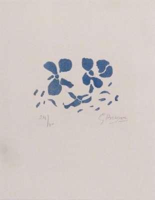 """Fleurs bleues """"Si je mourais là-bas"""" (Gravure) - Georges BRAQUE"""