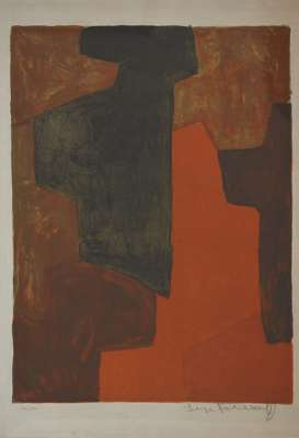 Composition Brown and Green n°43 (Lithograph) - Serge  POLIAKOFF
