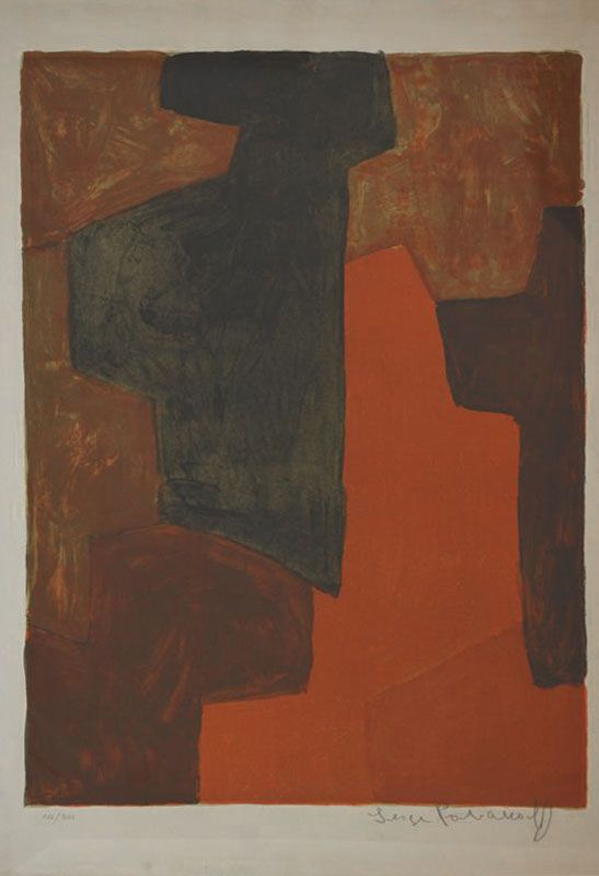 Composition Orange et Verte n°43 (Lithographie) - Serge  POLIAKOFF